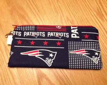 New England Patriots Football NFL Zipper Pencil Pen Pouch