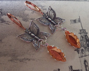 Silver Butterfly Earrings ~ Silver and Copper ~ Earrings ~ Mixed Metal ~ Vintage Glass ~ by SilverJewelryBox