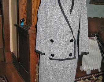 Vintage 1950's Tweed coat dress black & white excellent condition size 8 1