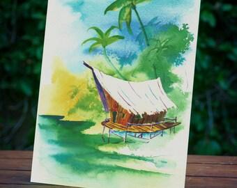 Tropical Art, Tiki Art Print, Surf Art, Surfboard, Polynesian Art Print, Island Art, Beach Art Print, Surfing, Hawaii Art, Surfer, Surfboard