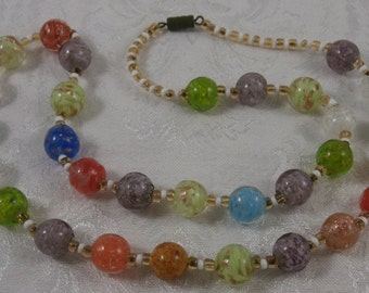 Vintage Murano Venetian Aventurine Glass Bead Necklace 24""