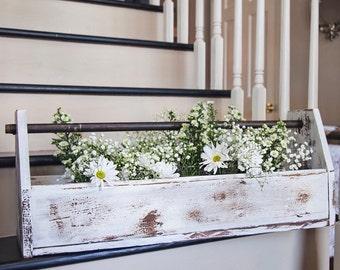 Distressed Pine Toolbox/Flowerbox w/ Metal Handle