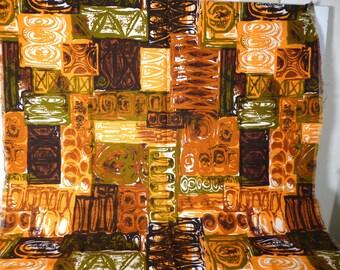 34 x 52 Tiki Hawaiian Fabric Polynesian Brown Green Tapa Barkcloth Upholstery