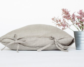 100% natural linen pillow cover tied with a bow, linen pillow case 16x16, linen pillow case 20x20.