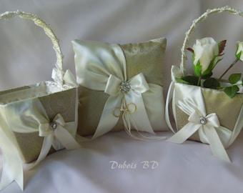 Wedding ring bearer pillow, Ivory ring pillow, Ring bearer pillow and 2 flower girl baskets 3 pcs. set, Ring bearer pillow, Sash ring pillow