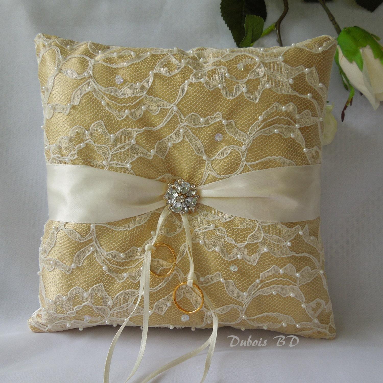 Gold ring bearer pillow Gold Ivory or white wedding ring