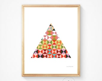 Colourful print, triangle print, modern wall decor, digital print, modern wall art, colourful wall art, wall decor, instant download print,