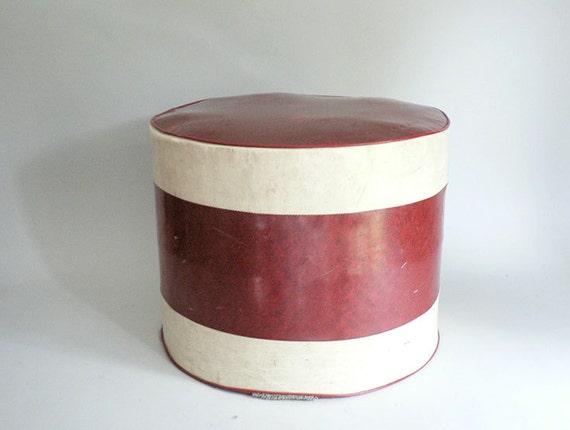 Retro round hassock foot stool ottoman for Small storage hassocks