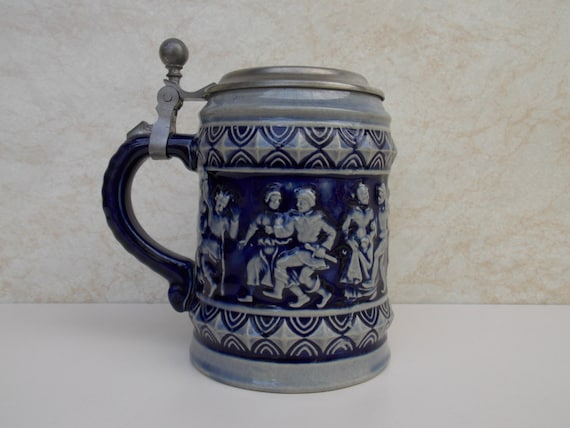 Vintage Ceramic German Beer Stein Mug Pewter Metal Lid Dance