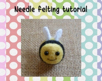 PDF Needle Felting Tutorial - Cute buzbee the bee - felting tutorial - download - mini - merino wool roving - felting needles