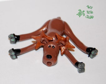 Polymer Clay Moose on Roller Skates