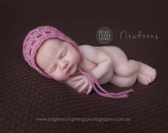 Delicate Mohair Bonnet / Photography Prop / Newborn Baby Hat / Dusky Pink