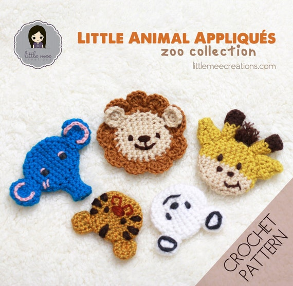Crochet Patterns Jungle Animals : Little Animal Appliques: Zoo Collection by LittleMeeCreations