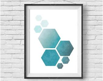 Teal Honeycomb Print, Teal Honeycomb Wall Art, Honeycomb Poster, Scandinavian Print, Geometric Wall Art, Geometric Print, Honeycomb Home Art