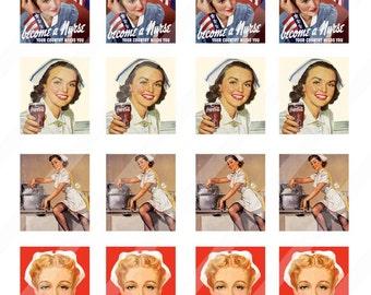 Nurse digital collage sheet 4x6  0.75x0.83 for scrabble tiles  INSTANT DOWNLOAD