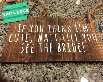 "Wood, Vinyl & Rope ""Here Comes the Bride"" custom sign, for ring bearers, wedding ceremony or bridal party. Customize your sign! [WED0001]"