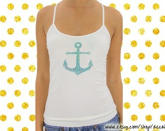 Turquoise Rhinestone Anchor on White Stretch Cami