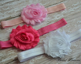 Set of 3 Baby Headbands | Shabby Chiffon Frayed Flower Headband | Chic Newborn Headband | Photo Prop | Little Girl Hair Bow | Pink White