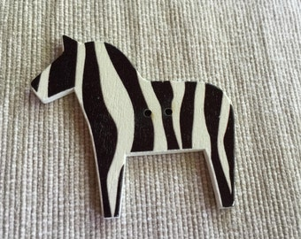Wooden Zebra Button