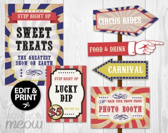 28 Vintage Circus Signs Printable INSTANT DOWNLOAD Direction Arrow Signpost Personalize Birthday Carnival Party Edit Hand Editable Fun Post