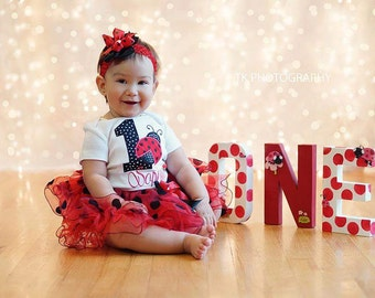 first birthday outfit girl-ladybug birthday outfit,red black ladybug birthday outfit-cake smash outfit girl-Little ladybug,high chair banner
