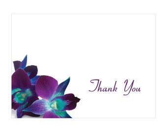 Blue & Purple Orchid Thank You Cards (print)