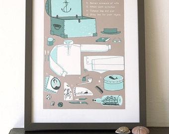 Sea chest A3 Screen Print