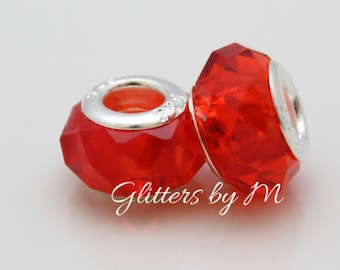 Tomato Red Glass Faceted Large Hole Bead for European Style Charm Bracelets
