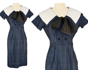 Vintage Dress, 1950s Dress, 50s Dress, Blue Vintage Dress, Nautical Dress, Sailor Dress, Wiggle Dress, Pin Up Dress, Portrait Collar Small
