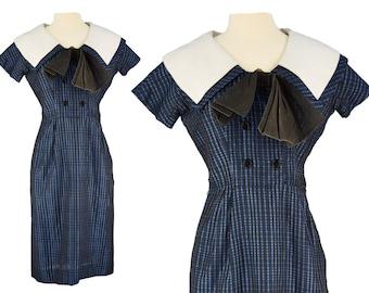 Vintage Dress, 1950s Dress, 50s Dress, Blue Vintage Dress, 50s Wiggle Dress, Sailor Dress, Rockabilly Dress, Pin Up Wiggle Dress, Size Small