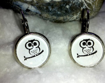 Cabochon earrings naughty OWL on tree branch