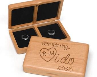 I Do Wedding Ring Box , Ring Box , Engraved Wedding Ring Box
