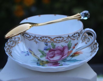 Unique hand painted Teacup & Saucer by Nymphenburg Bavaria in Germany.