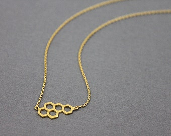 Honey Comb Pendant Necklace . Dainty and Delicate Necklace, Simple and Modern Necklace.