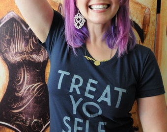 Sale of the Month - TREAT. YO. SELF.   American Apparel 50/50 women's fitted shirt, sizes small to xl.