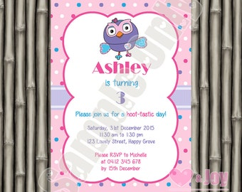 Hootabelle Invitation, Hootabelle Invite, Giggle and Hoot, Owl, 1st Birthday Invitation, 2nd Birthday, 3rd, 4th, 5th, 6th, PRINTABLE