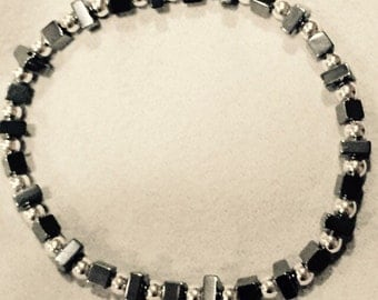 Sterling Silver and Hematite Handmade beaded bracelet