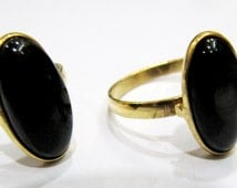 Natural Black Spinel Gold Plated Adjustable Ring Black Spinel Oval Cabochon 9x16mm- Finger Ring Free Size for all Age Group - Gemstone Ring
