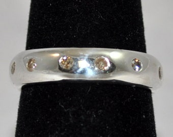 Sterling Silver and CHOCOLATE Diamond ANNIVESARY Band
