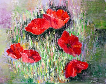 Red poppies painting, floral oil painting on canvas,abstract floral art, flowers in the grass, textured green,red,purple. FREE US SHIPPING