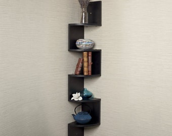 Corner Wall Mount Shelf, Floating, 5 Level, Zig Zag Storage Display, Black