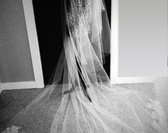 Coco Veil with Blusher: Cathedral Length Veil with Chantilly Lace Trim with Blusher