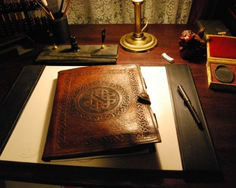 Handmade A4 Writing Compendium - Heavy duty Leather carved in a Celtic Pattern