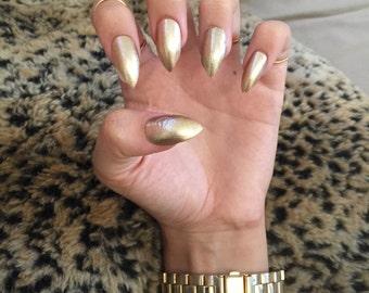 Gold stiletto nails fake nail set