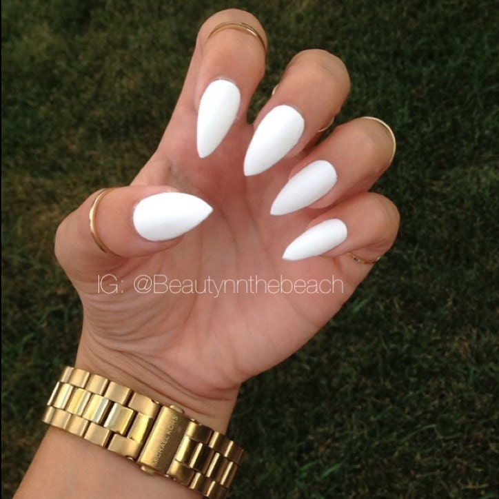 short white stiletto nails images. Black Bedroom Furniture Sets. Home Design Ideas