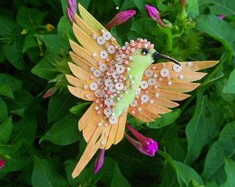 Textile Brooch Hummingbird..Art Icon Pin.Handmade art brooch.OOAK bird jewelery brooch.