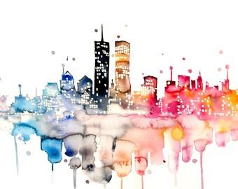 Original Watercolor Painting - Colorful Cityscape - Watercolor City Painting - Urban - Wall Decor - Original Artwork
