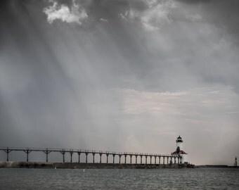 Lighthouse Photography, Lighthouse Decor, Nautical Decor, Art for Men, Minimalist, St Joseph Lighthouse, Lake Michigan Art