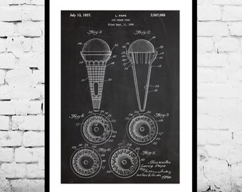 Ice Cream Cone Print, Ice Cream Cone Poster, Ice Cream Cone Patent, Ice Cream Cone Decor, Ice Cream Cone Wall Art, Ice Cream Cone Art