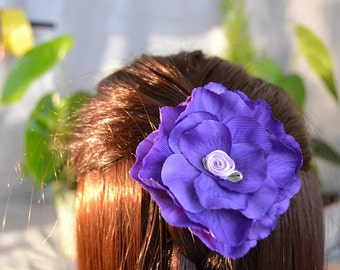 Flower hair piece, flower hair clip, flower hair accessories, purple hair flower, rose hair clip, silk flower hair clip, rose hair piece